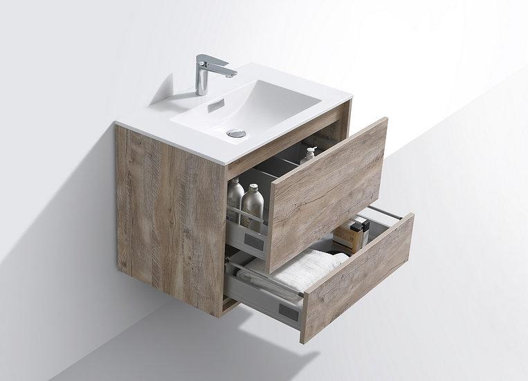 "DeLusso 30"" Ash Gray Wall Mount Modern Bathroom Vanity"