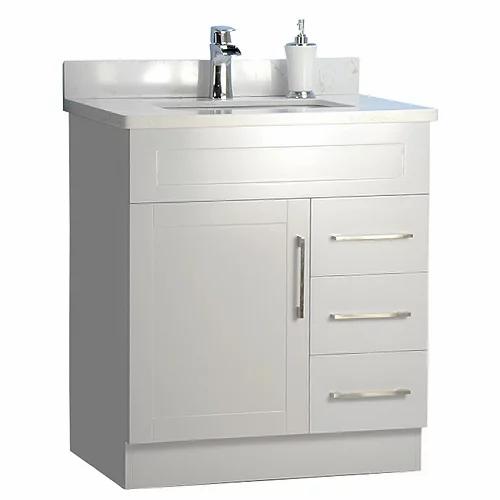 "30"" Shaker Style Grey Bathroom Vanity with Stone Top"