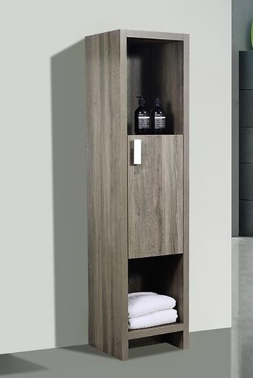 """Levi 63"""" Havana Oak Linen Cabinet with 1 Door and 2 Cubby Holes"""