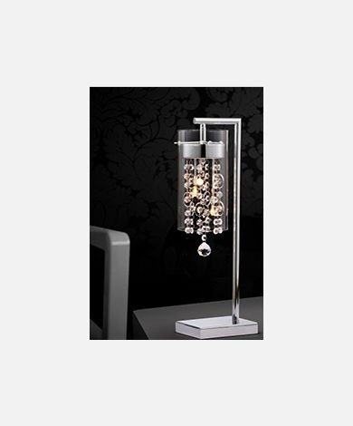 Single Pendant Chrome & Crystal Table Lamp