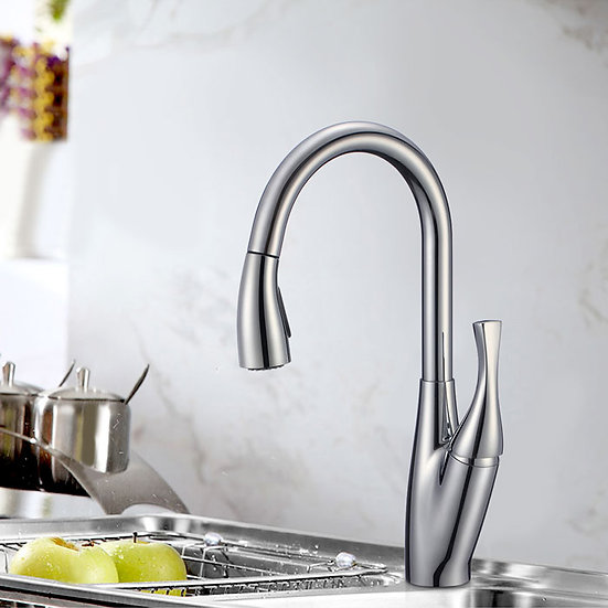 Chrome Finished Brass Kitchen Faucet - Pull Out Spray Head, KF8119823962