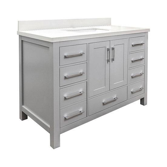 "48"" Mella Grey - Snow white Quartz Countertop - Single Sink Bathroom Vanity"