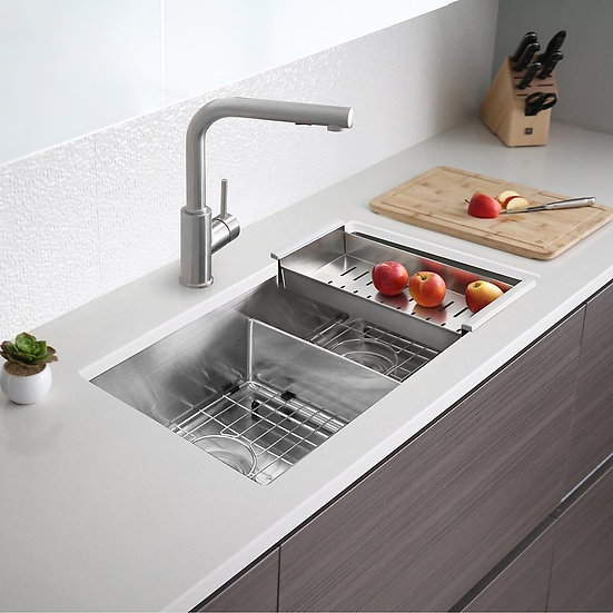 32 in Double Bowl Kitchen Sink, 16 Gauge Stainless Steel with Grids and Basket