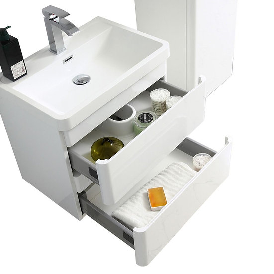 "24"" Avanti - White - Single Sink Wall-Hung Bathroom Vanity"
