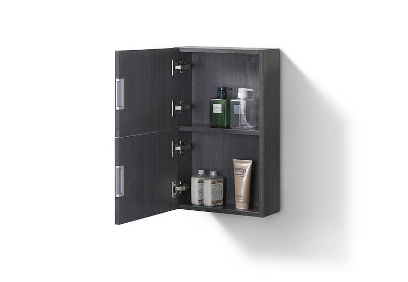 SMALL BATHROOM GRAY OAK LINEN SIDE CABINET W/ 2 STORAGE AREAS
