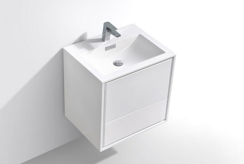 "24"" DE LUSSO - High Gloss White - Single Sink Wall-Hung Vanity"
