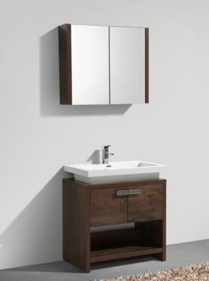 "Levi 30"" Rosewood Modern Bathroom Vanity w/ Cubby Hole"