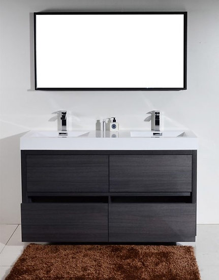 """Bliss 60"""" Gray Oak Double Sink  Free Standing Vanity"""
