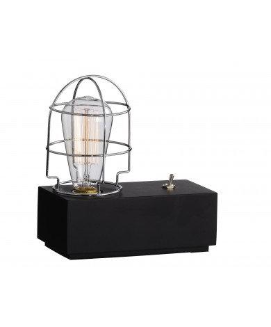 Black Wood Industrial Table Lamp
