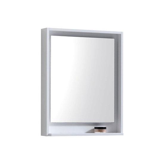 "24"" Wide Mirror w/ Shelf - High Gloss White"