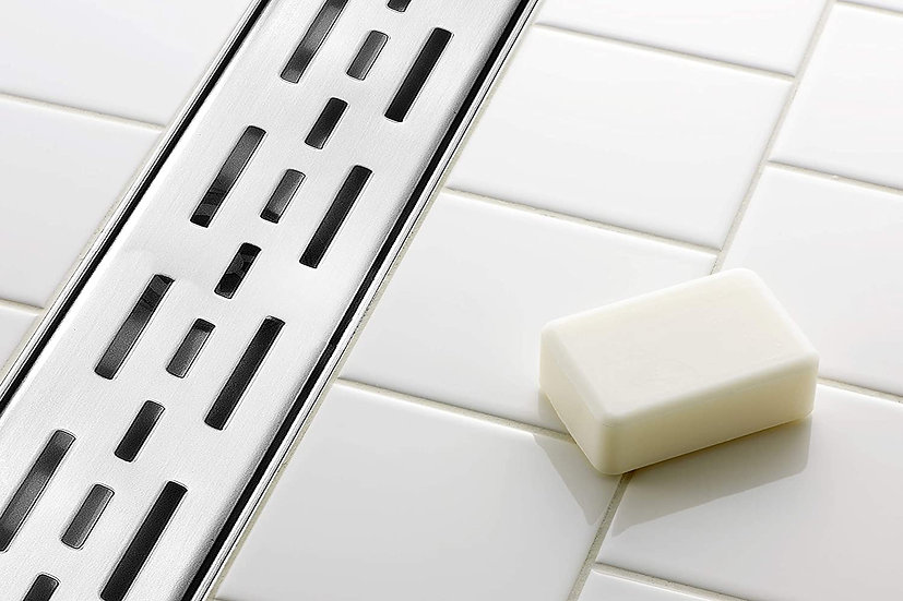 """Acqua + Bango 24"""" Brushed Stainless Steel Linear Drain with Bars Pattern Grate"""