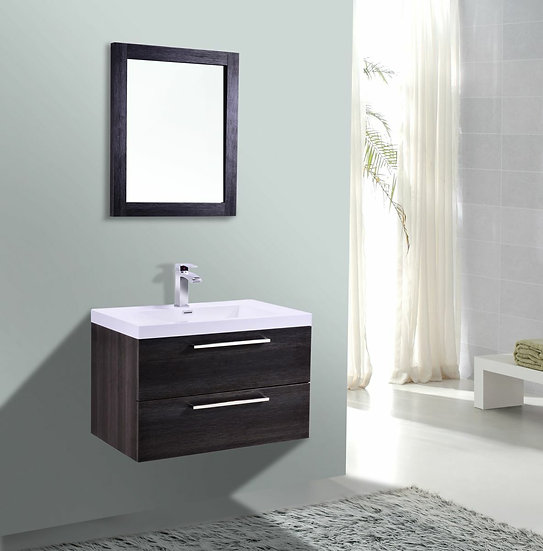 "30"" Eclipse - Single Sink Wall-Hung Bathroom Vanity - Distressed Oak"