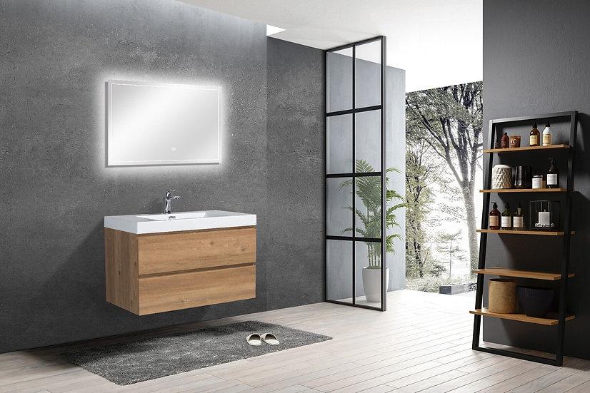 "36"" CAPRI - Rough Oak - Single Sink Bathroom Vanity"