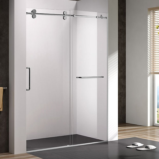 """60"""" Sliding Shower Door With Wheels For Alcove Installation"""