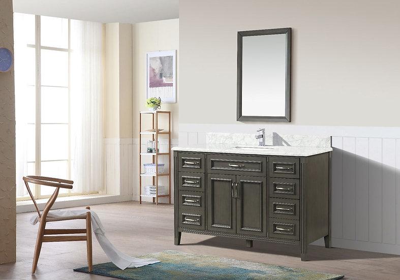 """48"""" Amanda Grey - Carrera Marble Countertop - Single Sink Bathroom Vanity"""