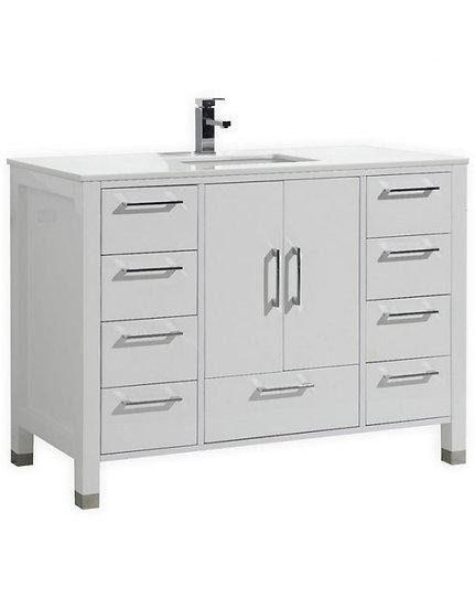 """Anziano 48"""" High Gloss White Single Sink Vanity"""