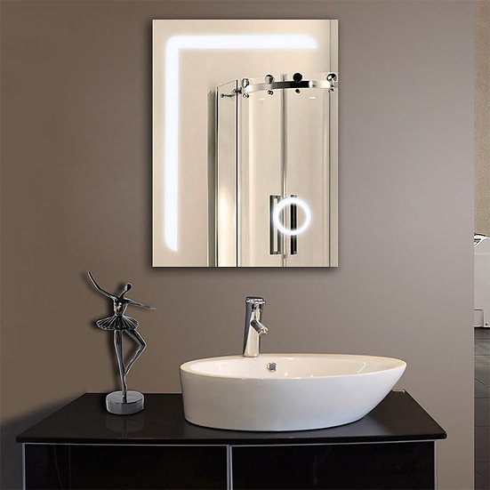 24 x 32 In. Vertical LED Bathroom Mirror with Circular Magnifier and ON/OFF Swit