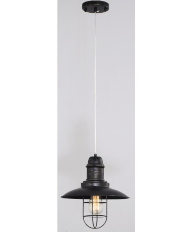 Industrial Hood Single Pendant Edison w/Black Cage