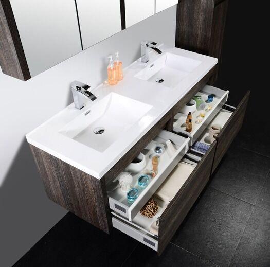 """60"""" Labrador - Dark Oak - Double Sink Wall-Hung Bathroom Vanity"""