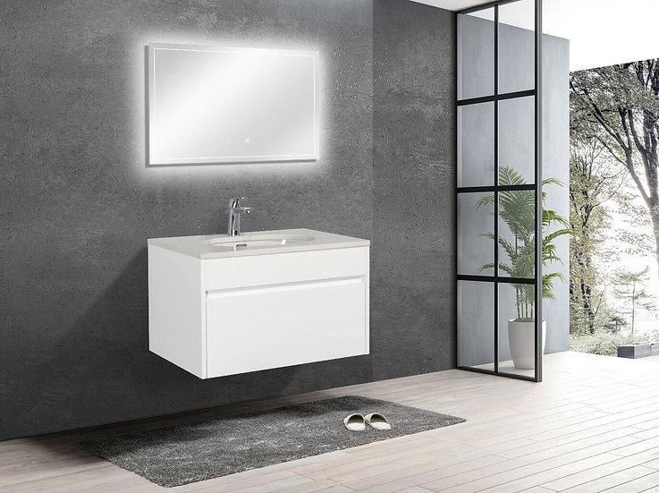 "30"" LAMINA - White - Single Sink Wall-Hung Vanity with Quartz Countertop"