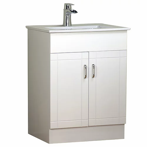"24"" Asher Style White Bathroom Vanity with Ceramic Top"