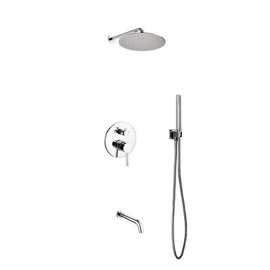"Aqua Rondo:  12"" Rain Shower, Handheld & Tub Filler"