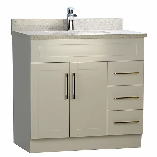 "36"" Shaker Style Grey Bathroom Vanity with Stone Top"