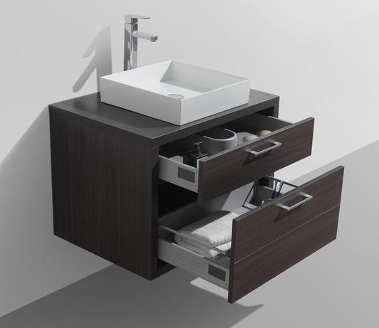 """Tucci 30"""" Gray Oak Wall Mount Modern Bathroom Vanity w/ Vessel Sink"""