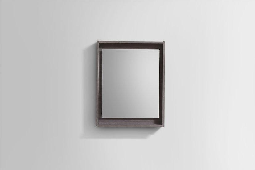 """24"""" Wide Mirror w/ Shelf - Gray Oak"""