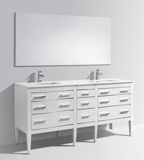 Eiffel 72'' High Gloss White Vanity W/ Quartz Counter Top