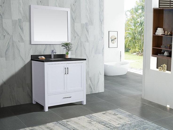 "36"" Carmela White - Black Granite - Single Sink Bathroom Vanity"
