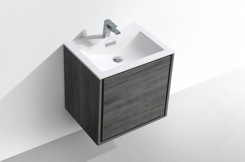 "24"" DE LUSSO - Ocean Gray - Single Sink Wall-Hung Vanity"