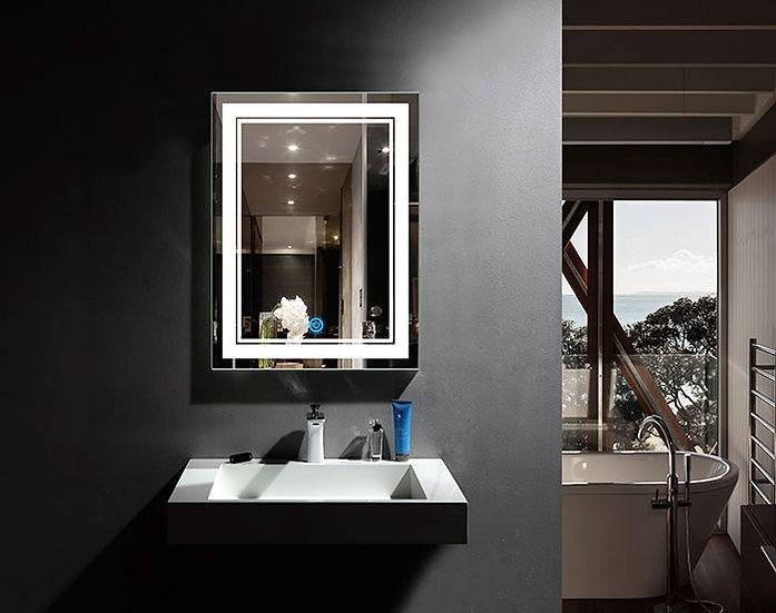 24 x 32 In LED Bathroom Mirror with Touch Button, Dimmable, Vertical & Horizonta