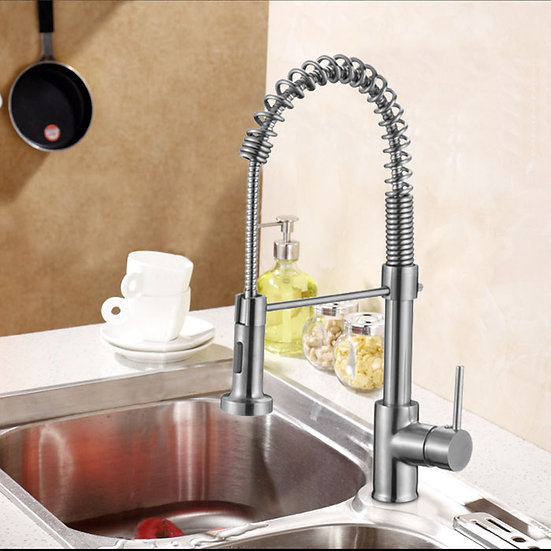 Chrome Finished Brass Kitchen Faucet - Pull Out Spray Head