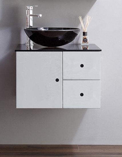 "24"" ISLA - White - Vessel Sink Bathroom Vanity with Black Glass Countertop"