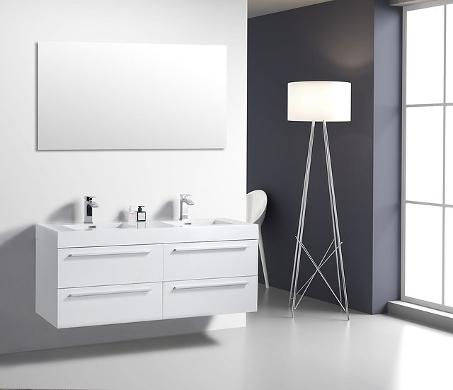 """60"""" Sofia - Lily White - Double Sink Wall-Mounted Bathroom Vanity"""