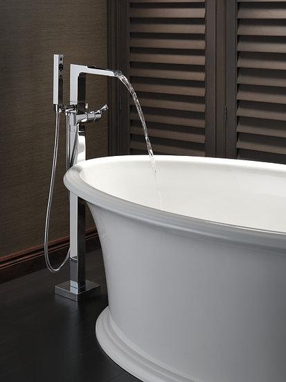 ARA Single Handle Floor Mount Channel Spout Tub Filler Trim With Hand Shower