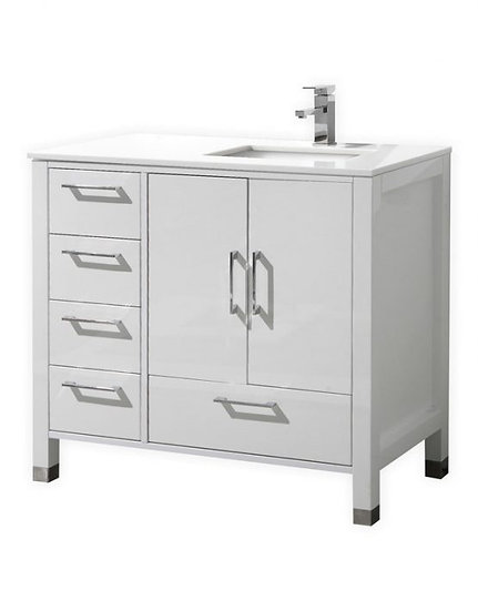 "Anziano 36"" High Gloss White Vanity"