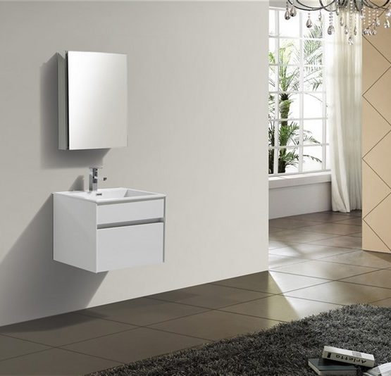 Tona Fitto 24″ High Gloss White Wall Mount Modern Vanity