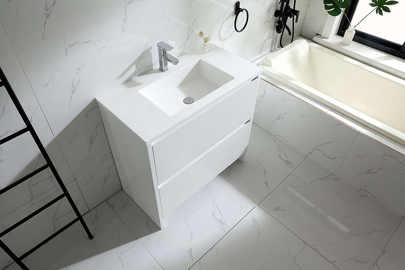"""36"""" Gianna - White Combo with Solid Surface Countertop - Single Sink"""
