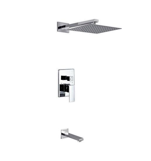 "Aqua Piazza: 12"" Square Rain Shower and Tub Filler"