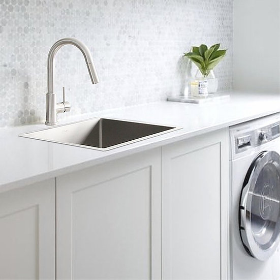 """22"""" Drop-in or Undermount Single Bowl 18G Stainless Steel Laundry Sink S-320T- S"""