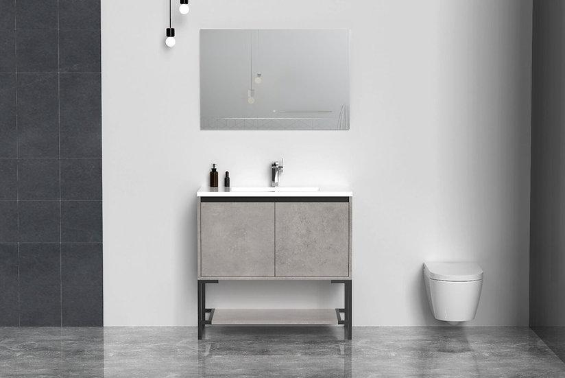 """36"""" Allen Bathroom Vanity - Single Sink - Grey - Acrylic Countertop"""