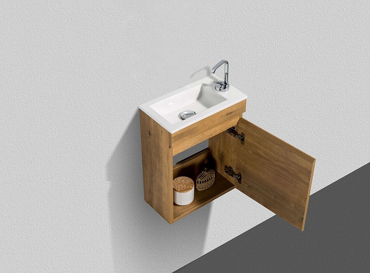 """16"""" Mini Vanity Natural Oak - Combo with acrylic top - Mirror included"""