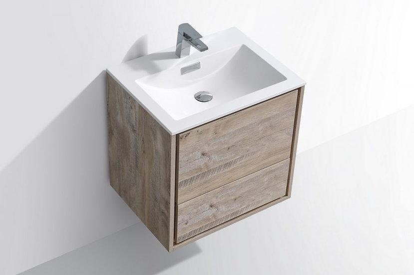 "24"" DE LUSSO - Nature Wood - Single Sink Wall-Hung Vanity"