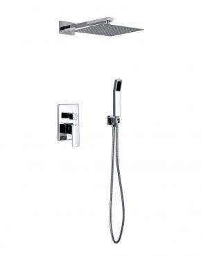 "Aqua Piazza: 12"" Square Rain Shower and Handheld"