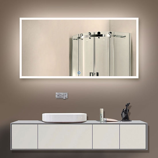 55 x 28 Inch LED Bathroom Mirror with Touch Button.
