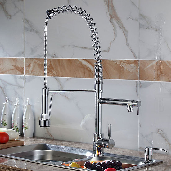 Kitchen Faucet - Brass in Brushed Nickel
