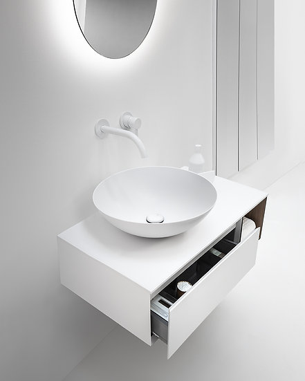 """MODE 31.5"""" White Wall hung Vanity, LED Mirror and Solid surface Top and Basin"""