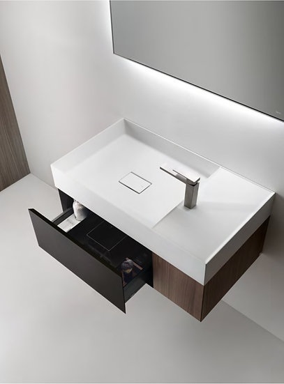MODE 31.5 Matt Black Wall Hung Vanity LED Mirror and Solid surface Top and Basin